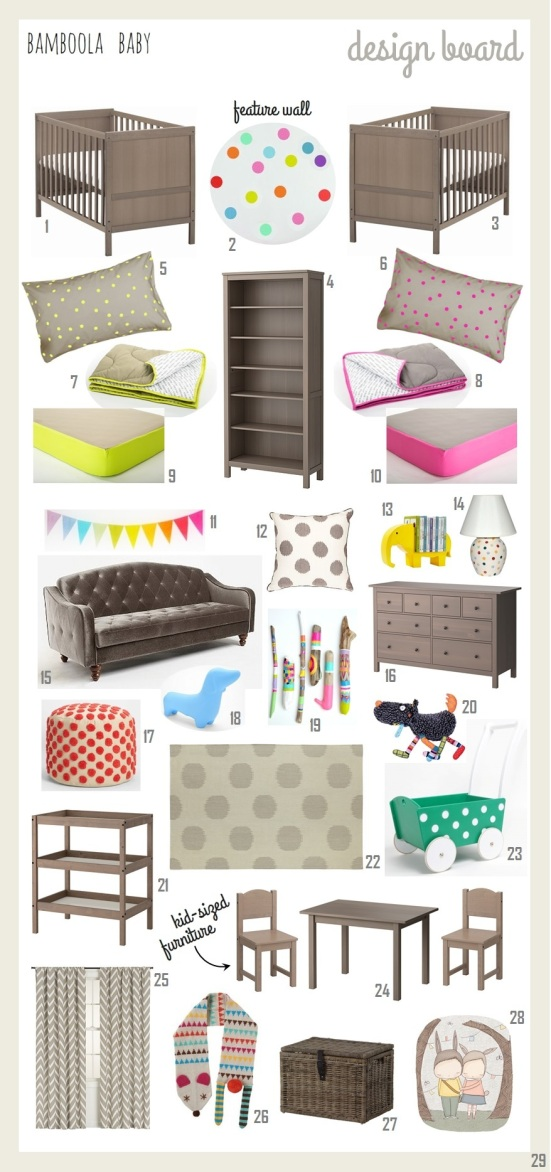 Bamboola Baby Interior Design Board Unisex Twin Nursery 2014-01-C2-002